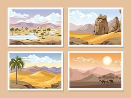deserts landscapes scenes vector