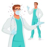 Smiling doctor in mask presenting and showing thumb up vector illustration