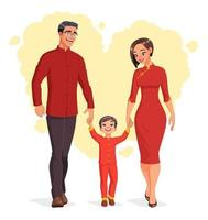 Happy Chinese family at Lunar New Year vector illustration