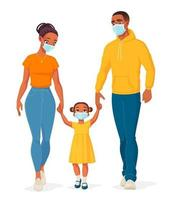 African American family wearing protective masks vector illustration