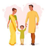 Happy smiling Indian family holding hands and walking vector illustration