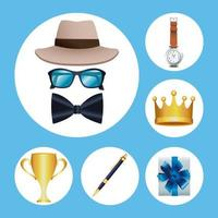 six fathers day icons vector