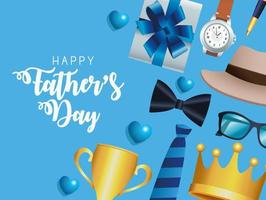 fathers day postcard vector