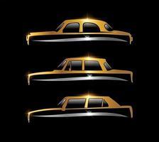 Letrero de coche clásico dorado en negro con efecto de brillo dorado. vector
