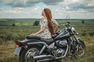 red haired girl in a white dress and boots along with a motorcycle lavender field photo