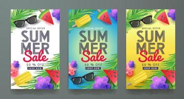 Abstract Summer Sale Banners Flyers discount set vector