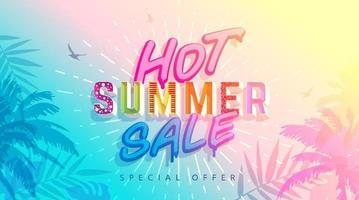Abstract Hot Summer Sale Background. Trendy Summer Time Wallpaper vector