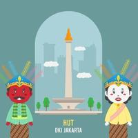 Birthday Jakarta Greeting Card With Characters vector