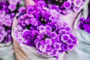 flores de primavera violeta en un papel blanco deformado foto