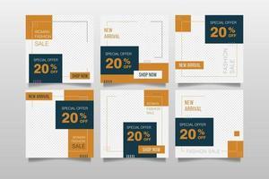 Plantilla de publicación de ventas de moda y redes sociales. vector