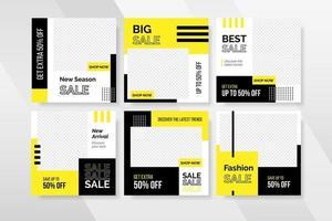 venta de moda minimalista y plantilla de publicación en redes sociales vector