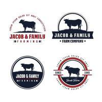 plantilla de diseño de logotipo de vaca angus negra vector