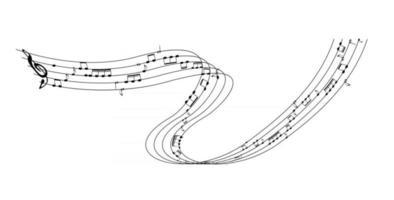 Set of musical notes on five line clock notation without a feature vector