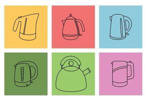 Set of Kitchen appliances Electric kettle vector