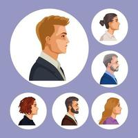 six persons characters vector