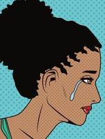 afro girl crying popart vector
