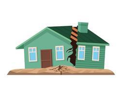 house broken facade vector
