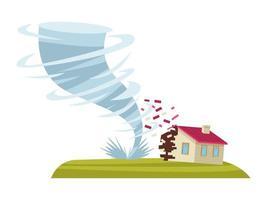 tornado y casa vector
