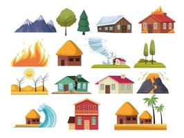 natural disasters icons vector