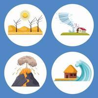 natural disasters scenes vector
