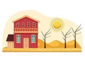 house in desert vector