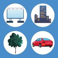 four autocinema icons vector