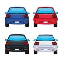 four cars icons vector