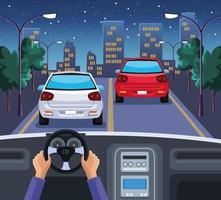 hands driving car vector