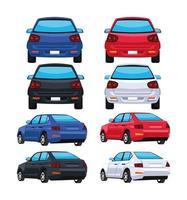 bundle eight cars vector