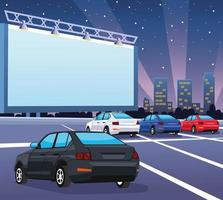 cars in autocinema vector