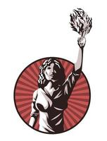 woman with torch vector
