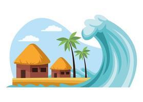 tsunami in huts vector