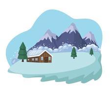 snow avalanche scene vector