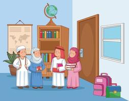 group arabic students vector
