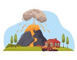 volcano eruption disaster vector