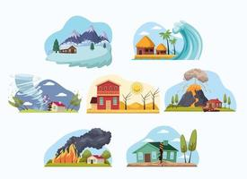 differents natural disasters vector