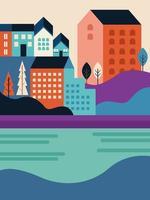 city seascape scene vector