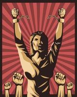 woman and fists vector