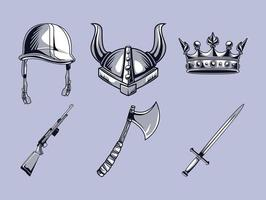helmets and weapons vector
