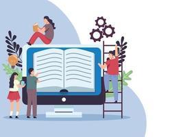 lectores con libros y personajes de escritorio vector
