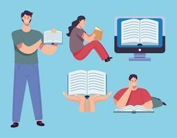 grupo de lectores personas con libros y personajes de libros electrónicos vector