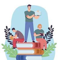 grupo de lectores en pila libros personajes vector