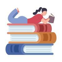 Lector mujer leyendo libro acostado en la pila de caracteres de libros vector