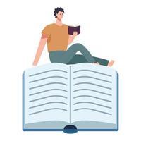 Lector hombre leyendo un libro sentado en el personaje del libro vector