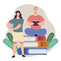 pareja de lectores leyendo libros con hojas vector