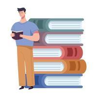 Lector hombre leyendo libro de pie con carácter de libros de pila vector