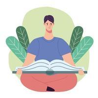 Lector hombre leyendo un libro sentado en posición de loto con hojas vector