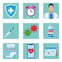 paquete de nueve iconos de vacuna covid19 vector