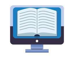 ebook open literature in desktop vector