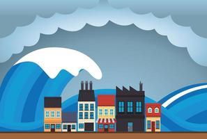 climate change effect city scape scene with tsunami vector